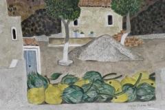 Artischocken und Zitronen 1985 Aquarell 38x57cm