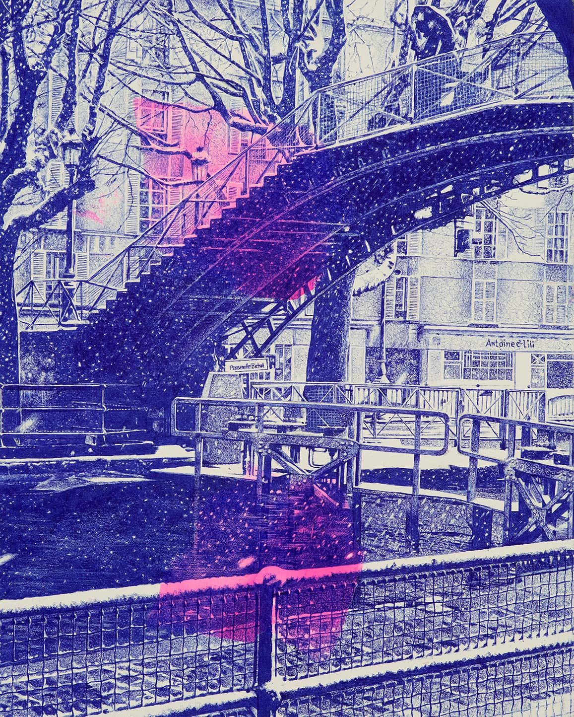 Canal St. Martin, passerelle face rue Bichet, Paris__, Kugelschreiber auf Maltuch, 40 x 50 cm, 2018