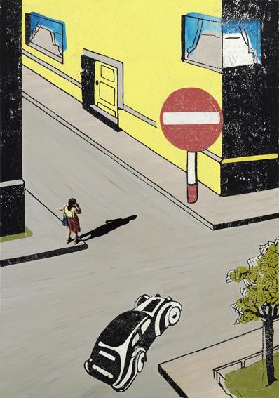 Code-de-la-Route-I-Aquarell-und-Binder-auf-Leinen-100f-x-70-cm-2005