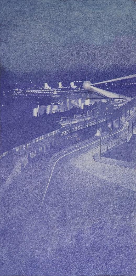 'Hamburg, Cap Arcona', Kugelschreiber auf Hartfaser, 60 x 30 cm, 2007