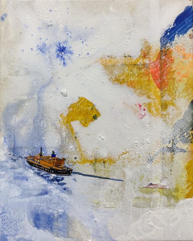Endstation, 2019 Acryl auf Leinen 30 x24 cm