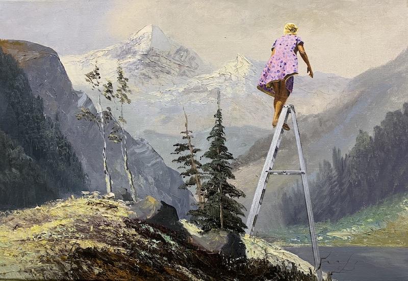 Selbst nach Jahren fehlte ihr der weite offene Horizont ihrer ostfriesischen Heimat, 2019 öl auf Leinen 45 x65 cm
