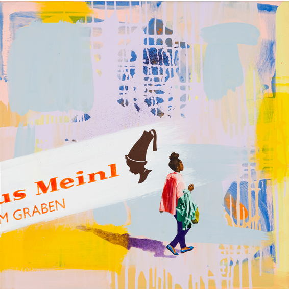 'Meiinl to go', Acryl und Oel auf Leinen, 70 x 70 cm, 2017