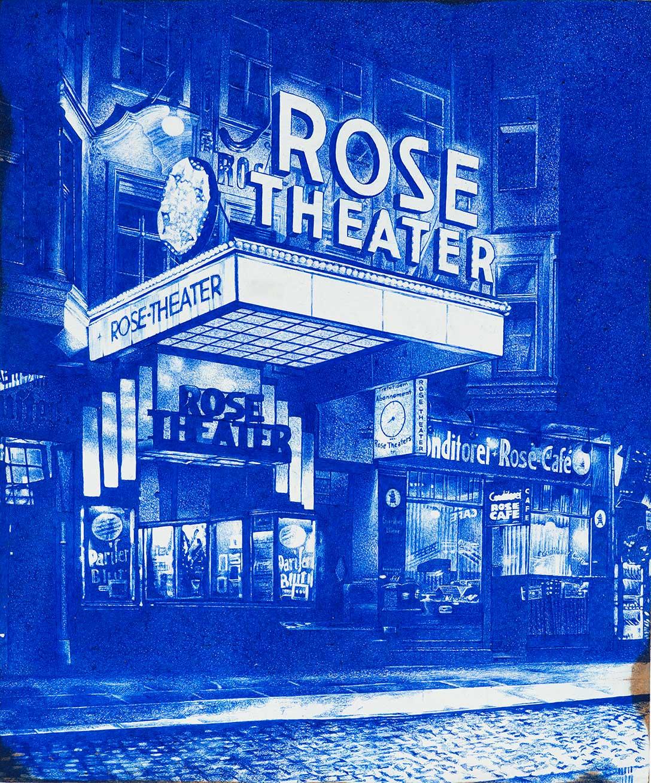 __ROSE-Theater__, Kugelschreiber auf lackierter Hartfaser, 60 x 50 cm, 2019