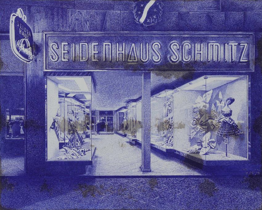 'Seidenhaus Schmitz', Kugelschreiber auf lackierter Hartfaser, 40 x 50 cm, 2015