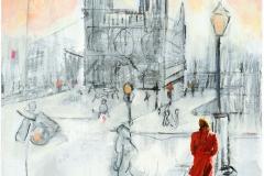 Der Platz vor Notre-Dame'---nach-Paula-Becker-Modersohn 2018 Acryl,-Kreide-und-Oel-auf-Leinen,100x80cm