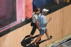 ''Die Flics werden sie festnehmen', sagte der Kellner', Aquarell auf Holzfurnier, 29,3 x 23,3 cm, 2000