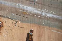 'Die Sonne schien, da sie keine andere Wahl hatte, auf nichts Neues', Aquarell auf Holzfurnier, 30,0 x 23,8 cm, 1998