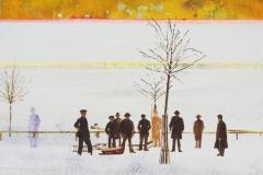 'Sepia-Winter (2)', Oel auf Holz, 27 x 39,5 cm, 2016