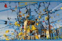 Ralf Ortner-Dorfkirche-Fotoübermalung/Acryl/Lw-20x50cm