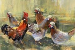 Sulmtaler Hühnerfamilie - 2017 - Acryl auf Leinwand - 50 x 70 cm