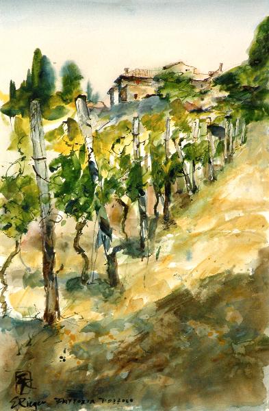 Fattoria Pozzolo, Toscana-Acryl auf Papier-56x37,5cm