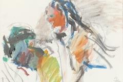 Herwig Zens - Tot des Patroclus 2012 Acryl, Kohle, Lw 40x50cm publiziert