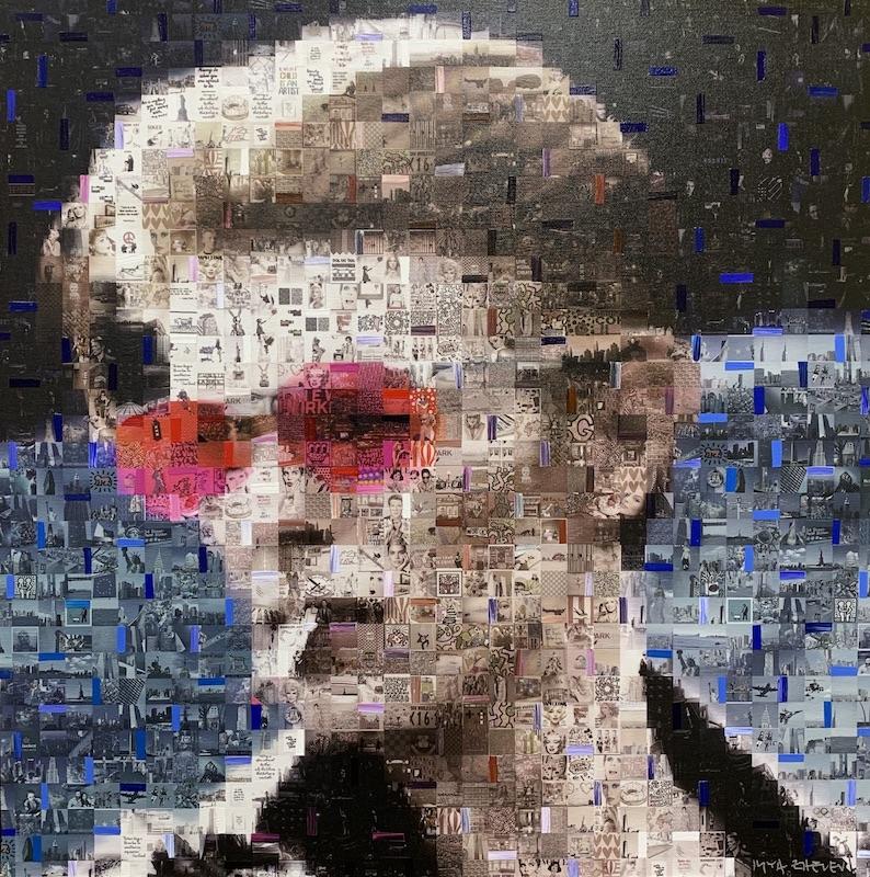 David Bowie pink Sunglasses - Mixed Media auf Leinwand - 60 x 60 cm