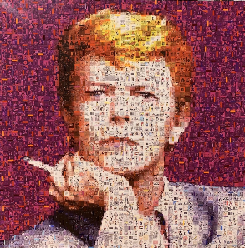 Bowie with a cigarette - Mixed Media auf Leinwand - 100 x 100 cm