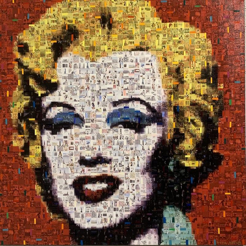 Red Marilyn - Mixed Media auf Leinwand - 90 x 90 cm