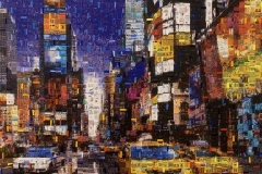 Taxi Times Square - Mixed Media auf Leinwand - 90 x 90 cm