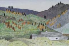 Herbst auf der Alm 1987 Aquarell 35x75cm