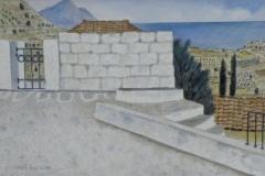 Weisse Mauer 1989 Aquarell 38x57cm