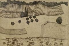 Landschaft mit Kürbissen 1995 Tusche Feder 39x57cm