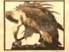 WEIßKOPFGEIER(Gänsegeier) 1922 Farblinolschnitt WVZ.Nr.79
