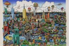 Charles Fazzino - HIGH ABOVE NEW YORK CITY - 3D Siebdruck - signiert-nummeriert