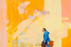 ''Nespresso on the Run', Acryl und Oel auf Leinen, 70 x 70 cm, 2017