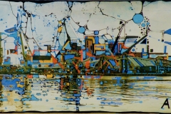 Ralf Ortner-Hafen von Antwerpen-Fotoüberarbeitung/Acryl/Lw-30x50cm