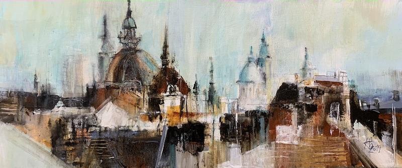 Graz Tuerme und Kuppeln - 2019 - Acryl auf Leinwand - 30 x 70 cm