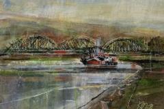 Linz - Eisenbahnbruecke - 2018 - Acryl auf Karton - 20 x 25,5 cm