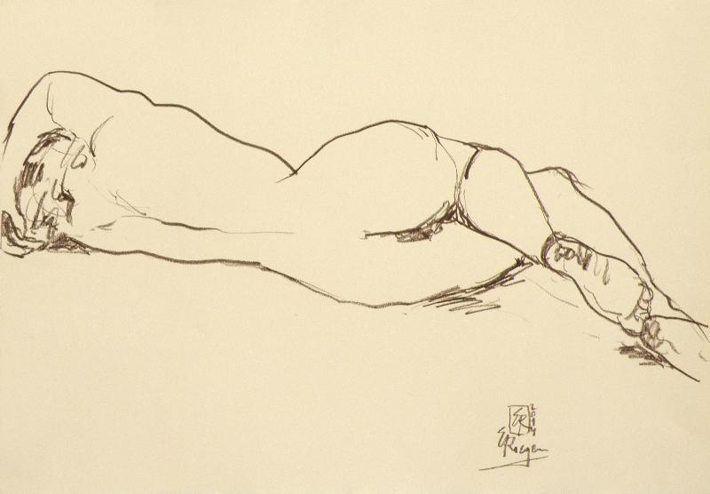 Liegender Akt-2014-Kreide-auf- Papier-42x59,5cm