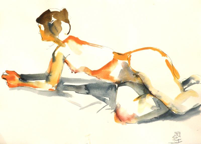 Akt-2014-Acryl auf Papier-56,5x78,5cm