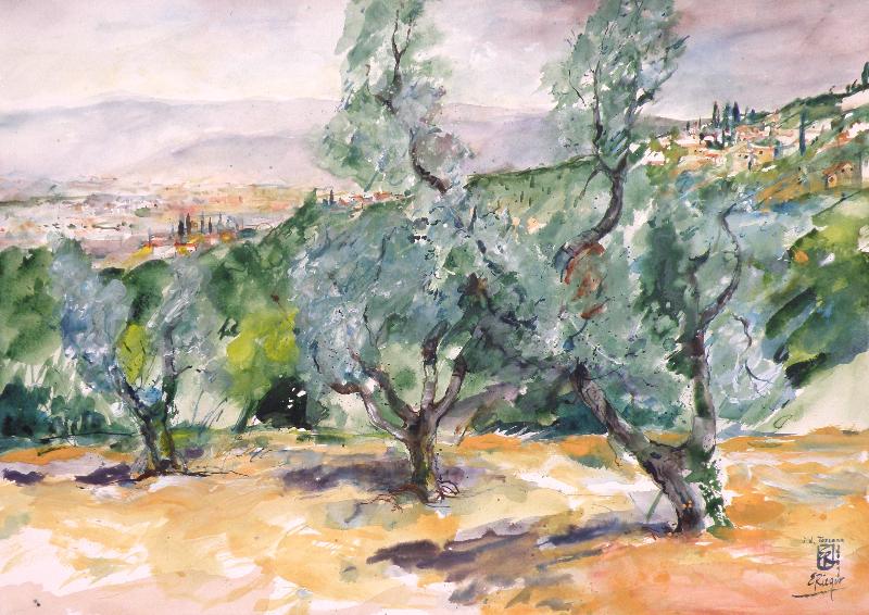 In der Toscana-2001-Acryl auf Papier-50x70cm